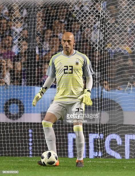 Wilfredo Caballero of Argentina controls the ball during an international friendly match between Argentina and Haiti at Alberto J Armando Stadium on...