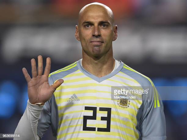 Wilfredo Caballero of Argentina gestures before an international friendly match between Argentina and Haiti at Alberto J Armando Stadium on May 29...