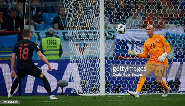 Wilfredo Caballero of Argentina lets Ante Rebic of Croatia score a goal during the 2018 FIFA World Cup Russia group D match between Argentina and...