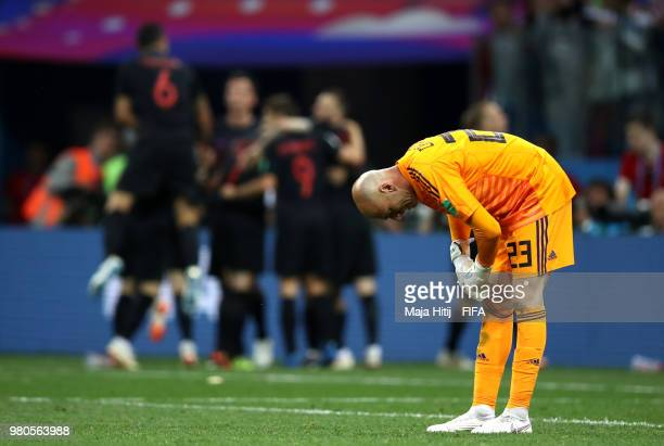 Wilfredo Caballero of Argentina looks dejected after conceding for the third time during the 2018 FIFA World Cup Russia group D match between...