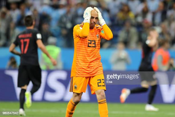 Wilfredo Caballero of Argentina looks dejected after his mistake leads to a Croatia goal during the 2018 FIFA World Cup Russia group D match between...