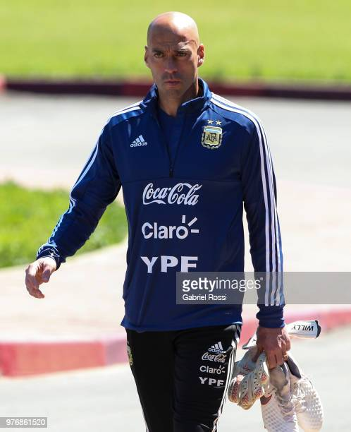 Wilfredo Caballero of Argentina looks on prior a training session at the team base camp on June 17 2018 in Bronnitsy Russia