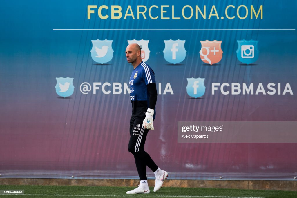 Wilfredo Caballero of Argentina takes part in a training session as part of the team preparation for FIFA World Cup Russia 2018 at FC Barcelona 'Joan Gamper' sports centre on June 7, 2018 in Barcelona, Spain.