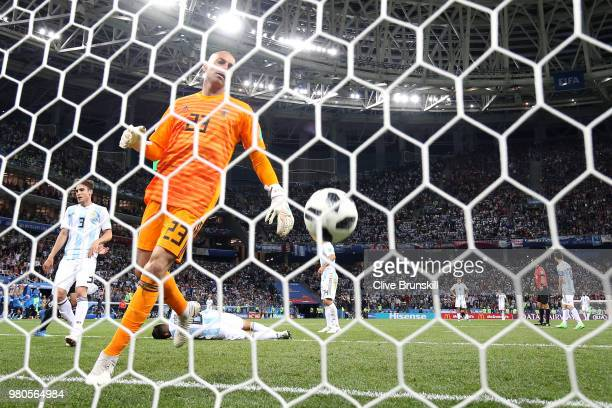 Wilfredo Caballero of Argentina takes the ball from the back of the net after croatia's third goal during the 2018 FIFA World Cup Russia group D...