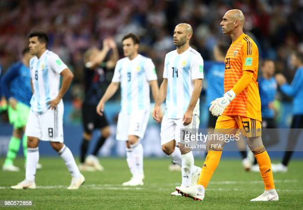 Wilfredo Caballero of Argentina walks off dejected after the 2018 FIFA World Cup Russia group D match between Argentina and Croatia at Nizhny...