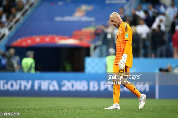Wilfredo Caballero of Argentina walks off the pitch dejected following the 2018 FIFA World Cup Russia group D match between Argentina and Croatia at...