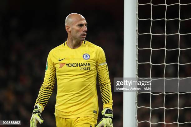 Wilfredo Caballero of Chelsea during the Carabao Cup SemiFinal Second Leg match between Arsenal and Chelsea at The Emirates Stadium on January 24...