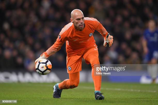 Wilfredo Caballero of Chelsea in action during The Emirates FA Cup Third Round Replay between Chelsea and Norwich City at Stamford Bridge on January...