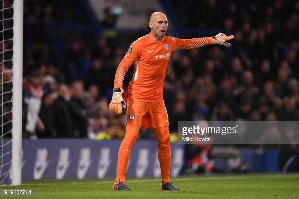 Wilfredo Caballero of Chelsea points during The Emirates FA Cup Fifth Round match between Chelsea and Hull City at Stamford Bridge on February 16...