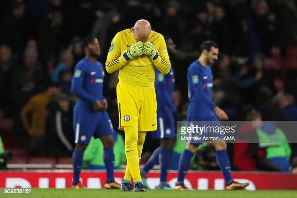 Wilfredo Caballero of Chelsea reacts at full time during the Carabao Cup SemiFinal Second Leg match between Arsenal and Chelsea at The Emirates...