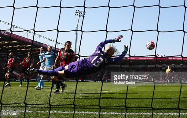 Wilfredo Caballero of Manchester City makes a save during the Barclays Premier League match between AFC Bournemouth and Manchester City at Vitality...