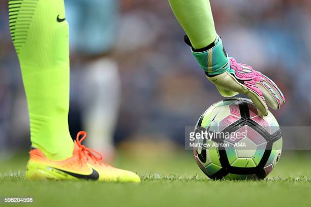 Wilfredo Caballero of Manchester City places the Nike Ordem match ball during the Premier League match between Manchester City and West Ham United at...
