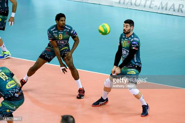 Wilfredo Leon and Gianluca Galassi of Perugia during the CEV Champions League match Chaumont 52 and SIR Safety Perugia on March 14 2019 in Reims...