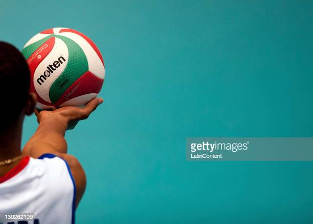 Wilfredo Leon of Cuba during the men's volleyball in the 2011 XVI Pan American Games at Pan American volleyball complex on October 25, 2011 in Ciudad...