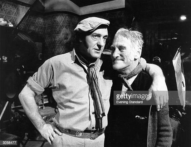 Wilfrid Brambell and Harry H Corbett who play those popular tv characters Steptoe and Son seen here on the set of the BBC series