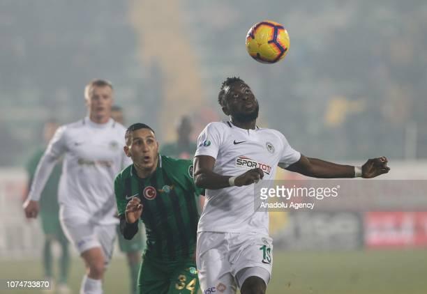 Wilfried Abro of Atiker Konyaspor in action against Adrien Regattin of Akhisarspor during the Turkish Super Lig football match between Akhisarspor...