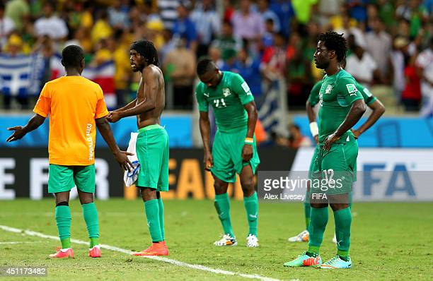 Wilfried Bony and the Ivory Coast players react after the 12 defeat in the 2014 FIFA World Cup Brazil Group C match between Greece and Cote D'Ivoire...