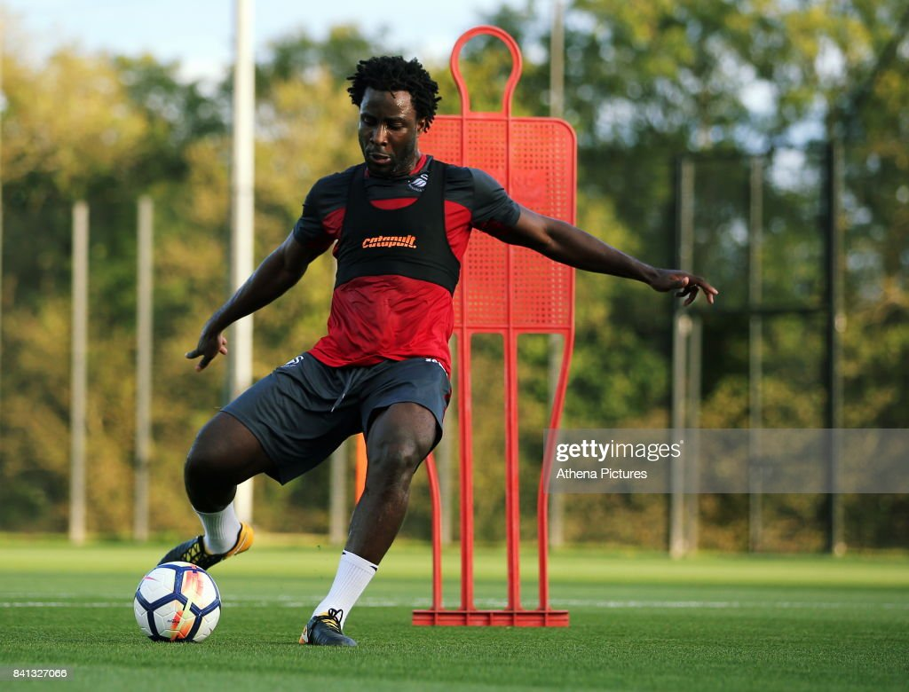 Wilfried Bony goes through his medical at the Swansea City FC Fairwood Training Ground on August 31, 2017 in Swansea, Wales.