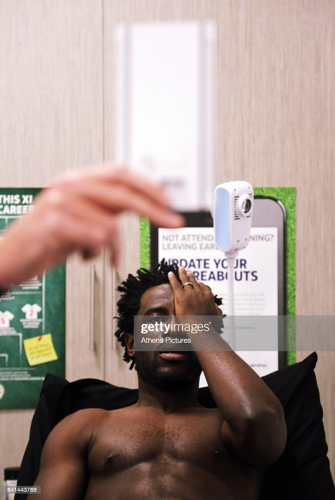 Wilfried Bony is examined by team doctor Jez McCluskey during his medical at the Swansea City FC Fairwood Training Ground on August 31, 2017 in Swansea, Wales.