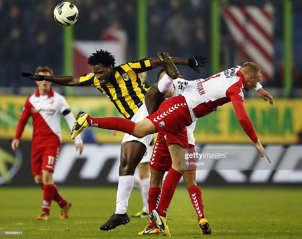 Wilfried Bony (L), Mike van den Hoorn (R) during the Dutch Eredivisie match between Vitesse Arnhem and FC Utrecht at the Gelredome on march 01, 2013 in Arnhem, The Netherlands