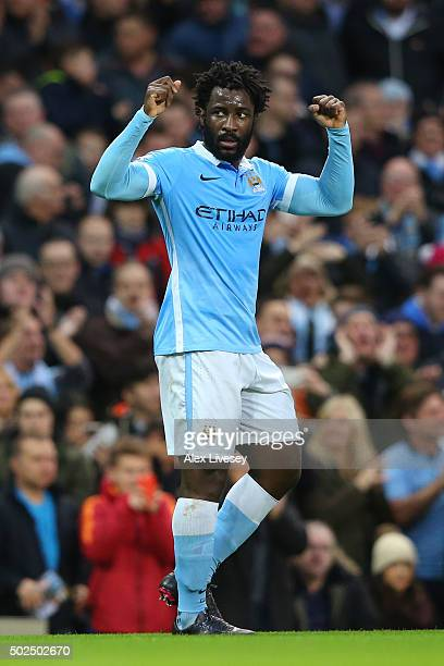 Wilfried Bony of Manchester City celebrates after scoring his team's third goal during the Barclays Premier League match between Manchester City and...