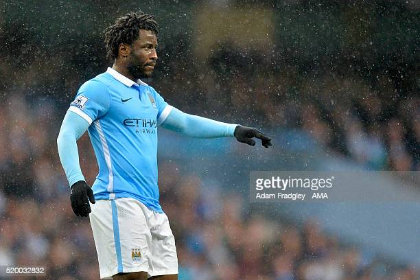 Wilfried Bony of Manchester City gestures during the Barclays Premier League match between Manchester City and West Bromwich Albion at Etihad Stadium...