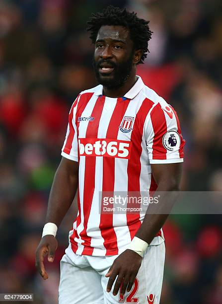 Wilfried Bony of Stoke City during the Premier League match between Stoke City and AFC Bournemouth at Bet365 Stadium on November 19 2016 in Stoke on...