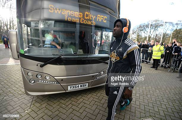 Wilfried Bony of Swansea arrives prior to the Barclays Premier League match between Hull City and Swansea City at KC Stadium on December 20 2014 in...