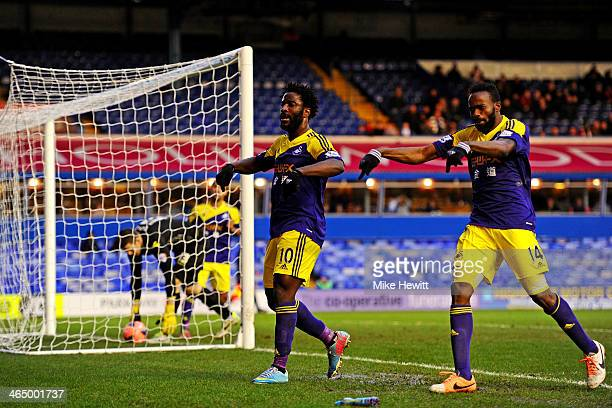 Wilfried Bony of Swansea celebrates after scoring his team's first goal during the FA Cup fourth round match between Birmingham City and Swansea City...