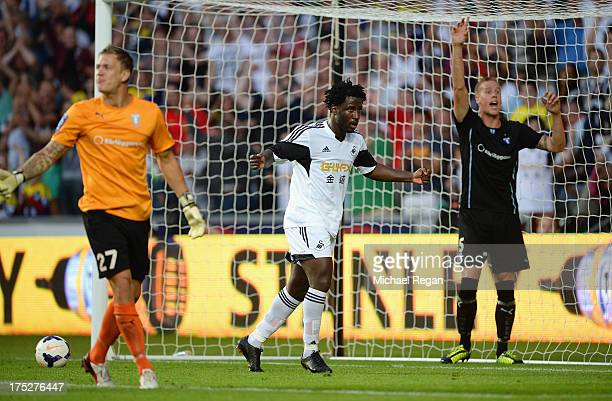 Wilfried Bony of Swansea celebrates scoring his 2nd goal to make it 3-0 during the UEFA Europa League third round qualifying first leg match between...