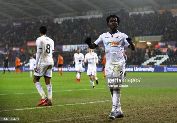 Wilfried Bony of Swansea City celebrates after he scores his sides second goal during The Emirates FA Cup Third Round Replay between Swansea City and...