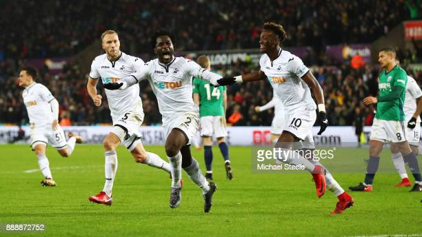 Wilfried Bony of Swansea City celebrates after scoring his sides first goal during the Premier League match between Swansea City and West Bromwich...