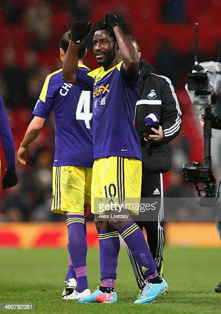 Wilfried Bony of Swansea City celebrates at the end of the FA Cup with Budweiser Third round match between Manchester United and Swansea City at Old...