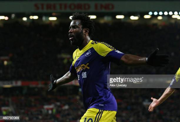 Wilfried Bony of Swansea City celebrates scoring his team's second goal during the FA Cup with Budweiser Third round match between Manchester United...