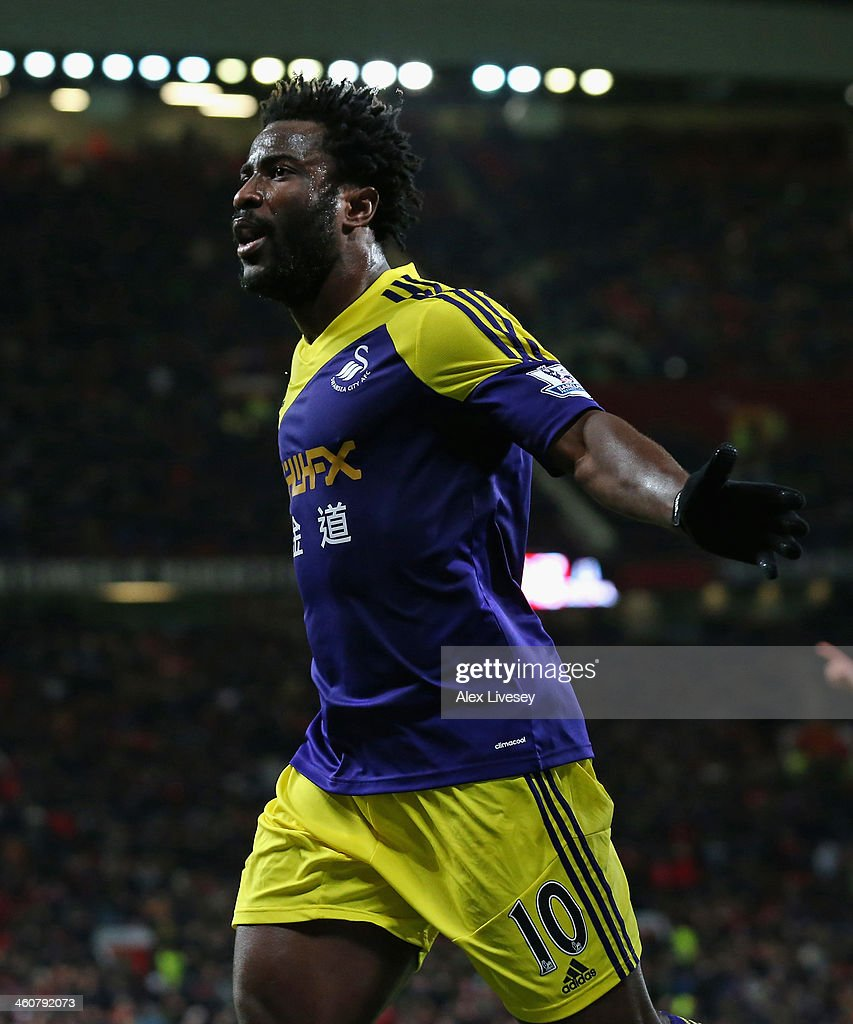 Wilfried Bony of Swansea City celebrates scoring his team's second goal during the FA Cup with Budweiser Third round match between Manchester United and Swansea City at Old Trafford on January 5, 2014 in Manchester, England.