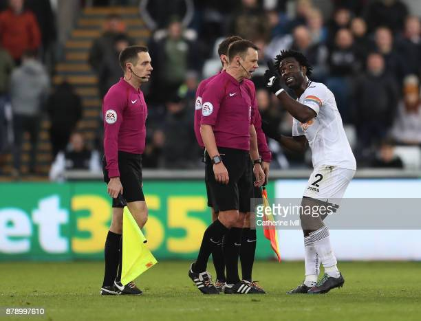 Wilfried Bony of Swansea City discusses with the referee during the Premier League match between Swansea City and AFC Bournemouth at Liberty Stadium...