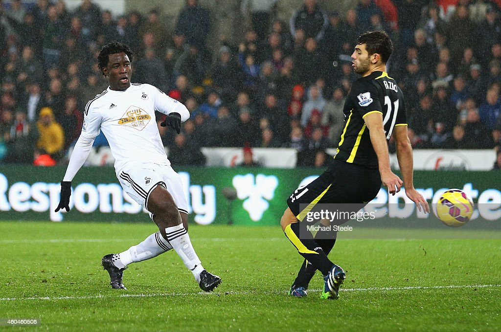 Wilfried Bony of Swansea City scores his goal under a challenge from Federico Fazio of Tottenham Hotspur during the Barclays Premier League match between Swansea City and Tottenham Hotspur at Liberty Stadium on December 14, 2014 in Swansea, Wales.