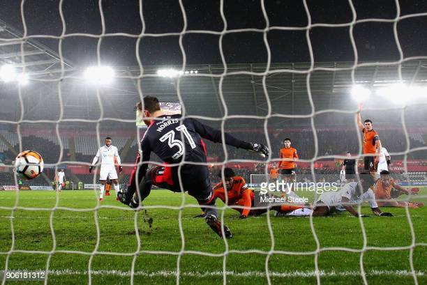 Wilfried Bony of Swansea City scores his sides second goal during The Emirates FA Cup Third Round Replay between Swansea City and Wolverhampton...