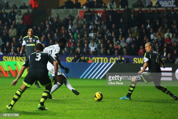 Wilfried Bony of Swansea City scores his sides third goal during the Barclays Premier League match between Swansea City and Stoke City at Liberty...