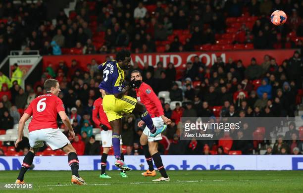 Wilfried Bony of Swansea City scores his team's second goal during the FA Cup with Budweiser Third round match between Manchester United and Swansea...