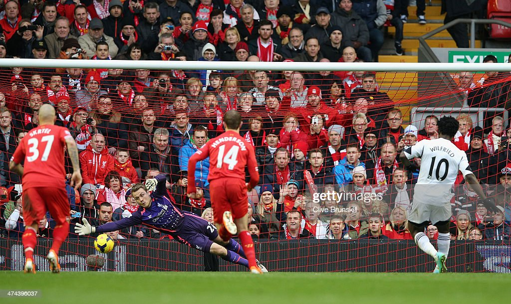 Wilfried Bony of Swansea City scores his team's third goal during the Barclays Premier League match between Liverpool and Swansea City at Anfield on February 23, 2014 in Liverpool, England.