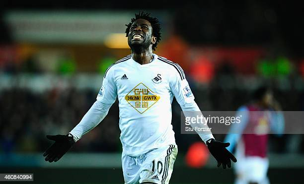 Wilfried Bony of Swansea reacts after having a goal dissalowed during the Barclays Premier League match between Swansea City and Aston Villa at...