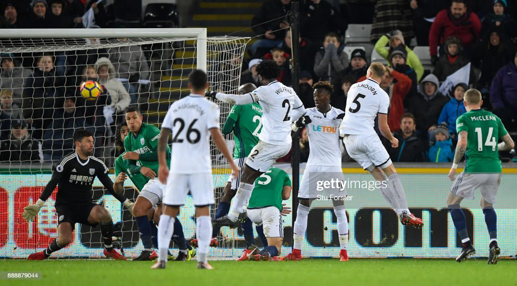 Wilfried Bony of Swansea scores the winning goal during the Premier League match between Swansea City and West Bromwich Albion at Liberty Stadium on December 9, 2017 in Swansea, Wales.