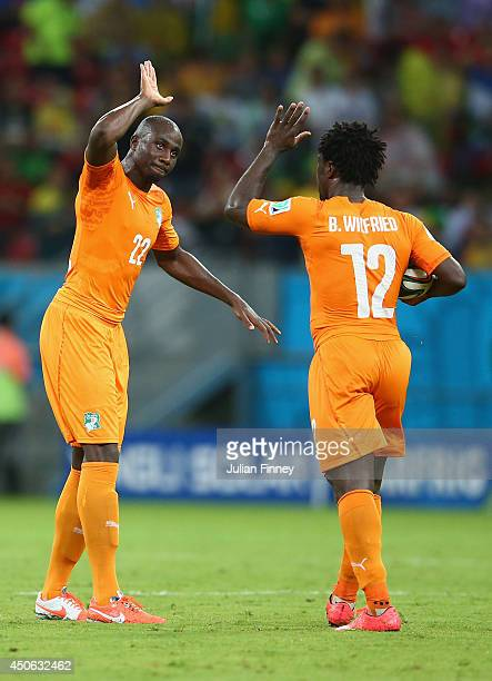 Wilfried Bony of the Ivory Coast celebrates scoring his team's first goal with Sol Bamba during the 2014 FIFA World Cup Brazil Group C match between...