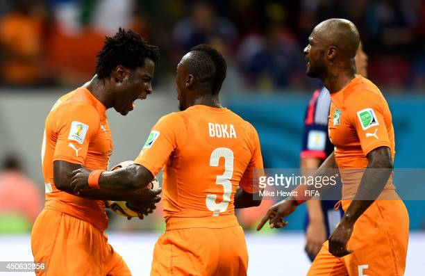 Wilfried Bony of the Ivory Coast celebrates with teammates after scoring the team's first goal during the 2014 FIFA World Cup Brazil Group C match...