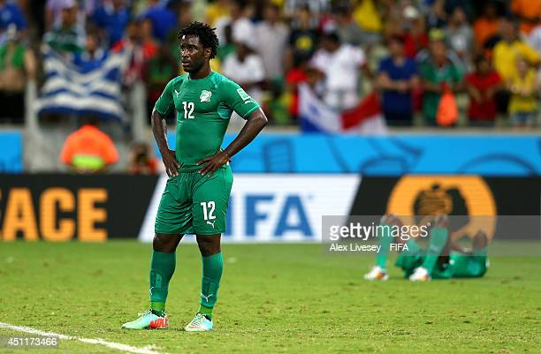 Wilfried Bony of the Ivory Coast reacts after the 12 defeat in the 2014 FIFA World Cup Brazil Group C match between Greece and Cote D'Ivoire at...
