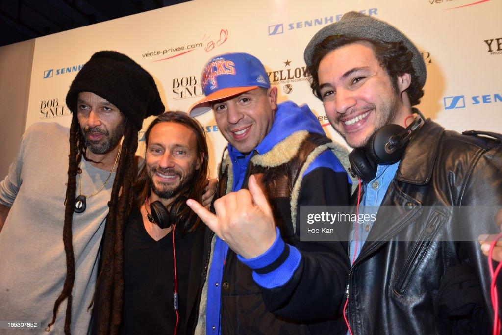 Wilfried de Baise, Bob Sinclar, DJ Cutkiller and Mr Style from 'Pulpalicious' attend the 'Paris By Night' Bob Sinclar CD Launch Concert Party At La Gaite Lyrique on April 2, 2013 in Paris, France.