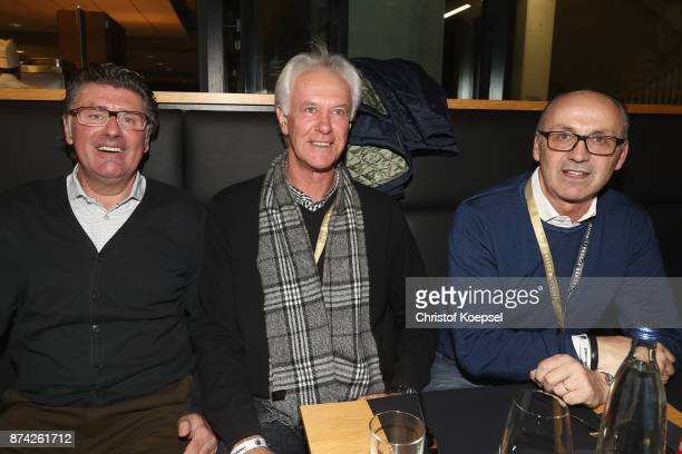 Wilfried Hannes Gerd Strack and Juergen Kohler are seen during the Club Of Former National Players Meeting at RheinEnergieStadion on November 14 2017...