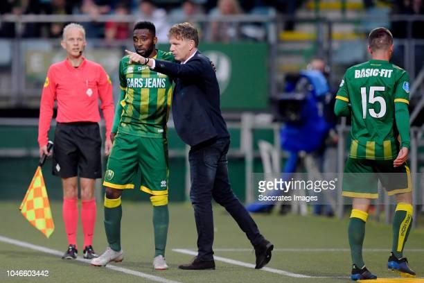 Wilfried Kanon of ADO Den Haag coach Alfons Groenendijk of ADO Den Haag during the Dutch Eredivisie match between ADO Den Haag v FC Groningen at the...