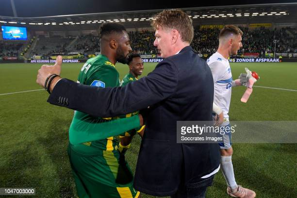 Wilfried Kanon of ADO Den Haag coach Alfons Groenendijk of ADO Den Haag Indy Groothuizen of ADO Den Haag celebrate the victory during the Dutch...